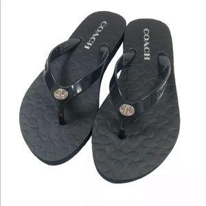 Coach Abbigail black flip flop sandals size 5/6
